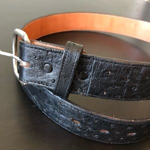 Ostrich leather belt in black western style